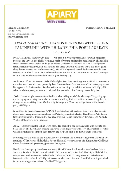 APIARY 6 Press Release
